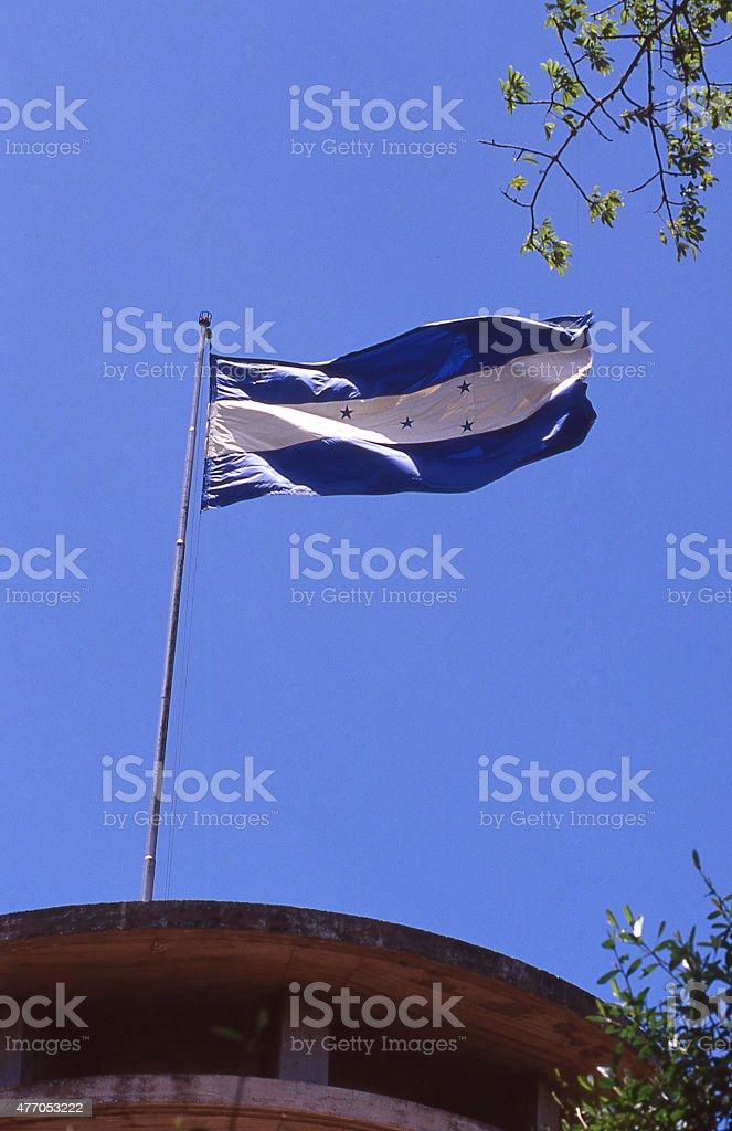 National Flag of Honduras Flagpole Patriotic Memorial Park Tegucigalpa Honduras stock photo