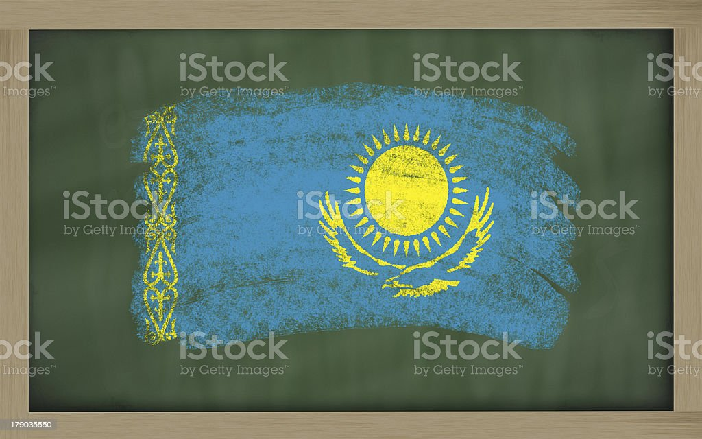 national flag of kazakhstan on blackboard painted with chalk royalty-free stock photo