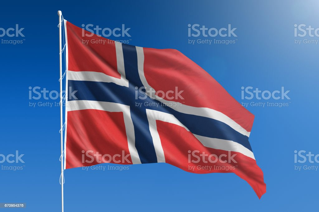 National flag of Norway on clear blue sky stock photo