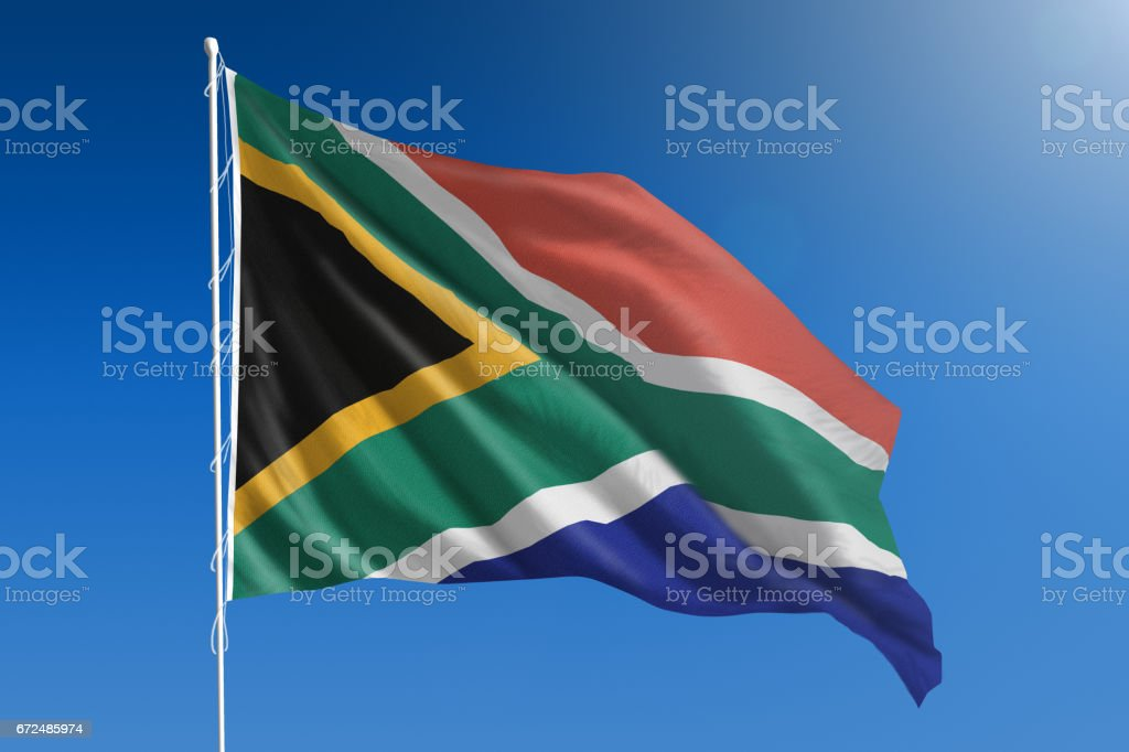 National flag of on clear blue sky stock photo