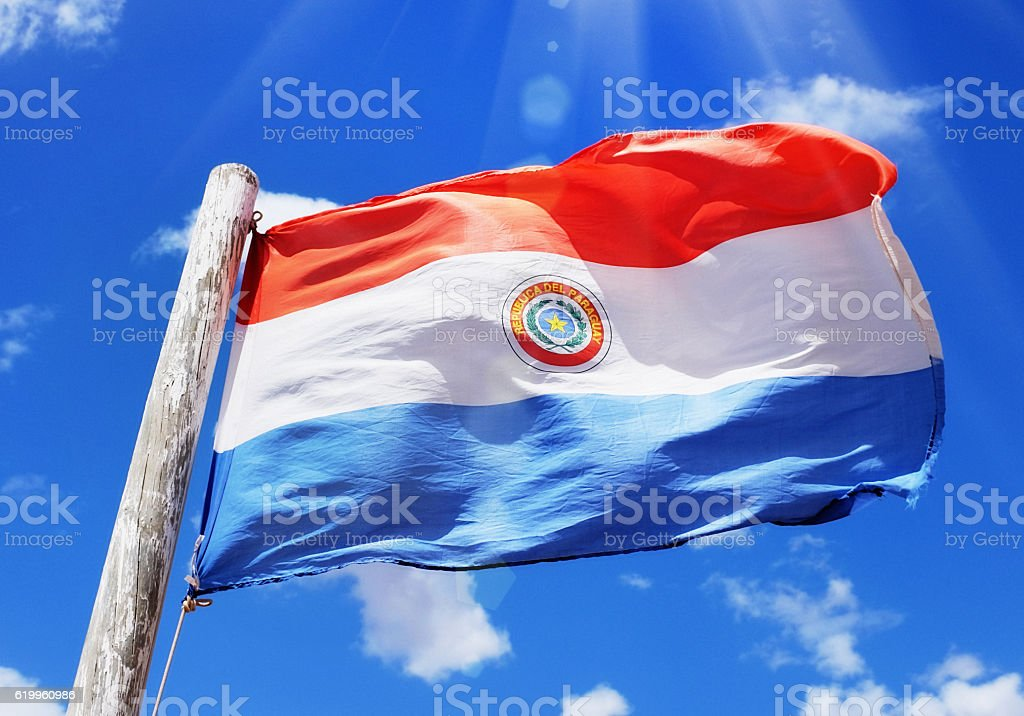 National flag of Paraguay, blowing in the breeze stock photo