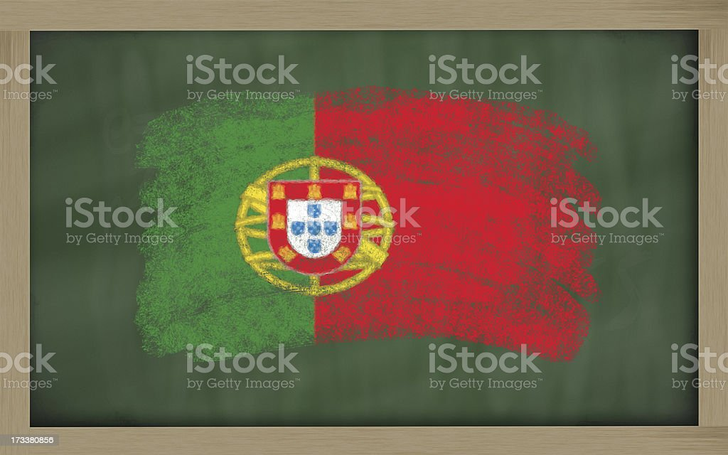 national flag of portugal on blackboard painted with chalk royalty-free stock photo