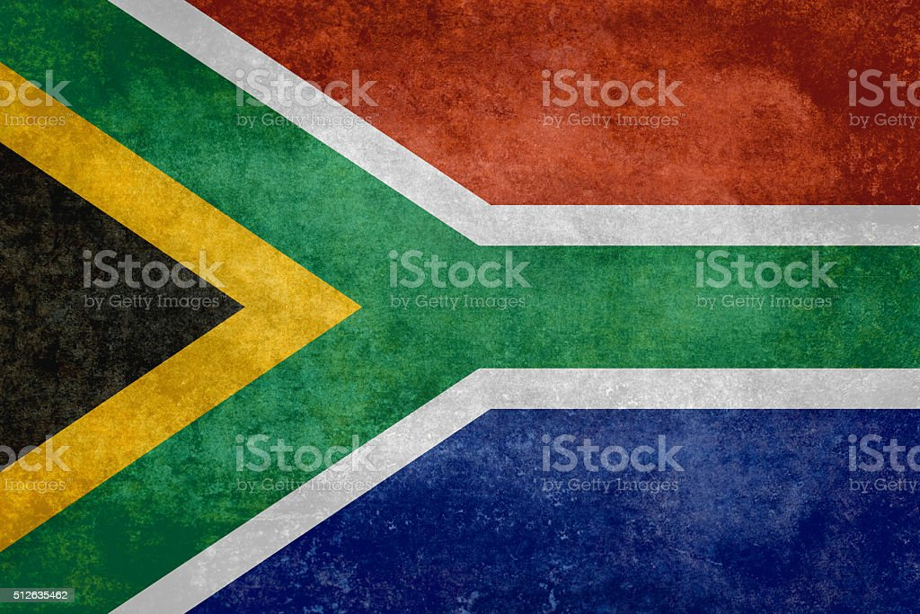 National flag of South Africa - Vintage version stock photo