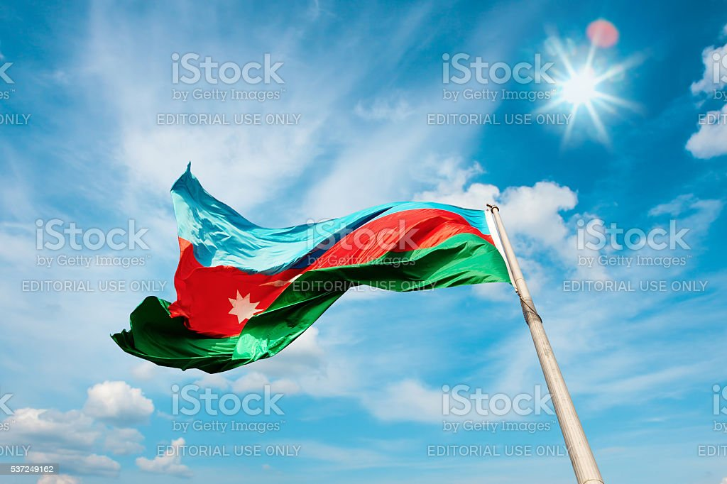 National flag of the Republic Azerbaijan stock photo