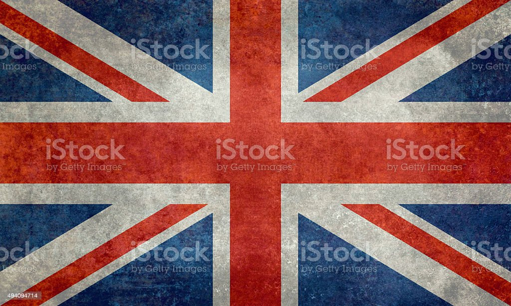 National flag of the United Kingdom with retro treatment stock photo