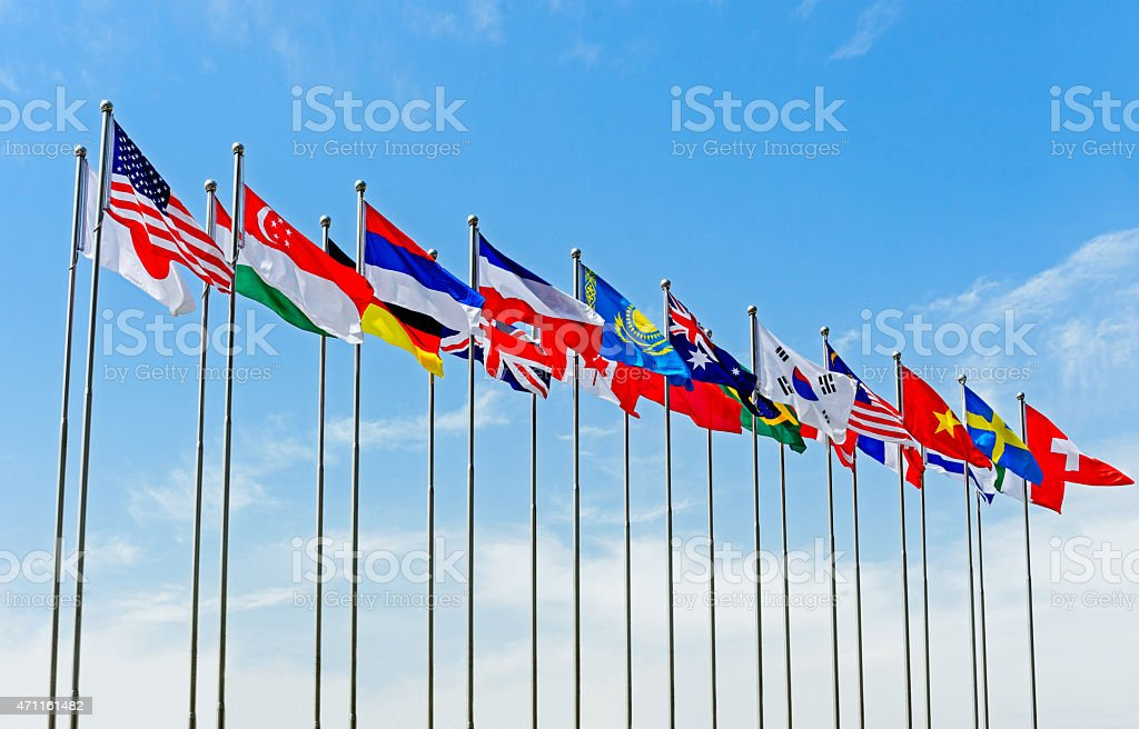 National Flag under blue sky stock photo