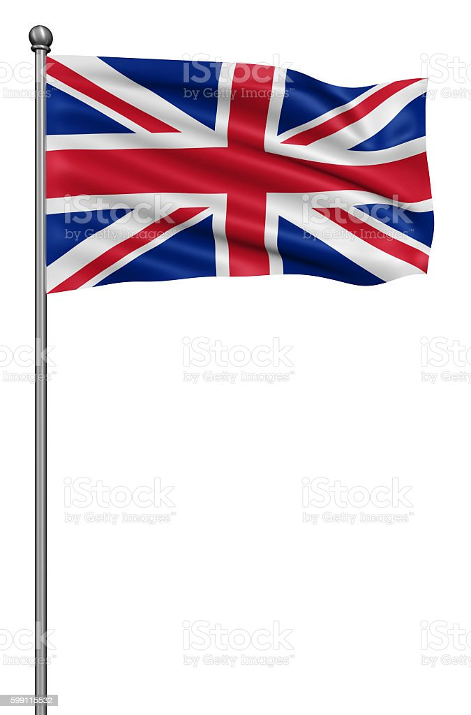 UK national flag waving in the wind. stock photo