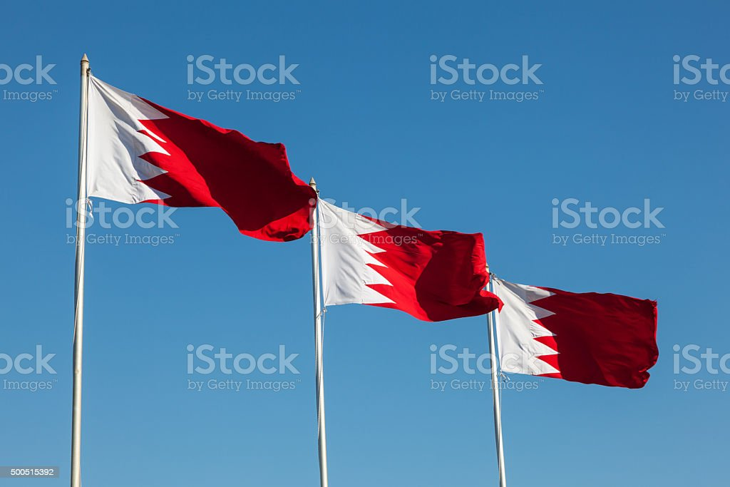 National Flags of Bahrain stock photo