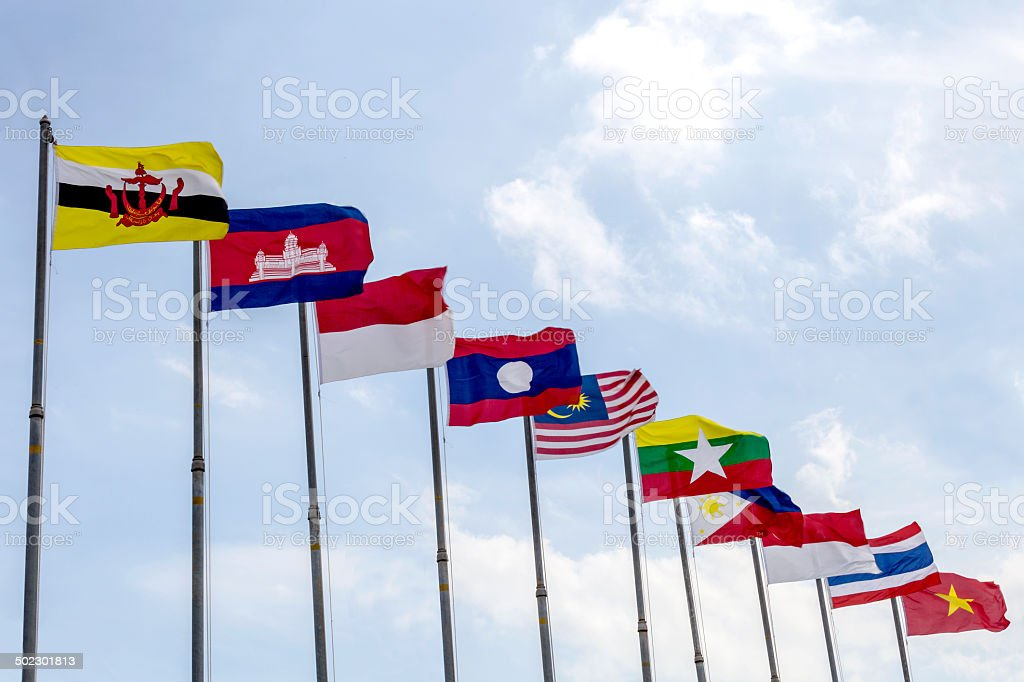 National flags of countries member of AEC (ASEAN economic community stock photo