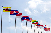 National flags of countries member of AEC (ASEAN economic community