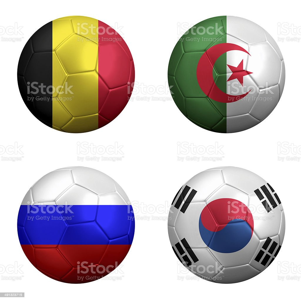 National Flags of Soccer Powerhouse Belgium, Algeria, Russia and Korea stock photo
