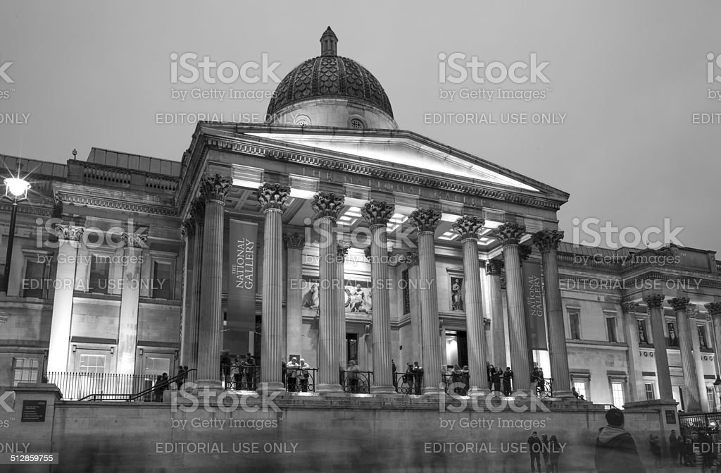 national gallery at trafalgar square of london england stock photo