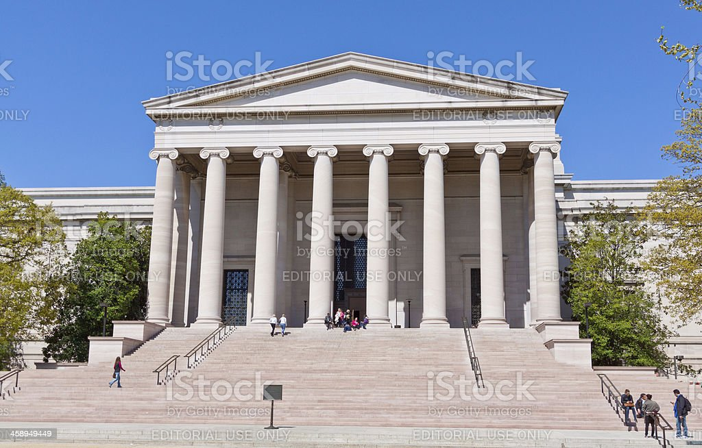 US National Gallery of Art, Smithsonian Museum, Washington. Blue sky. stock photo