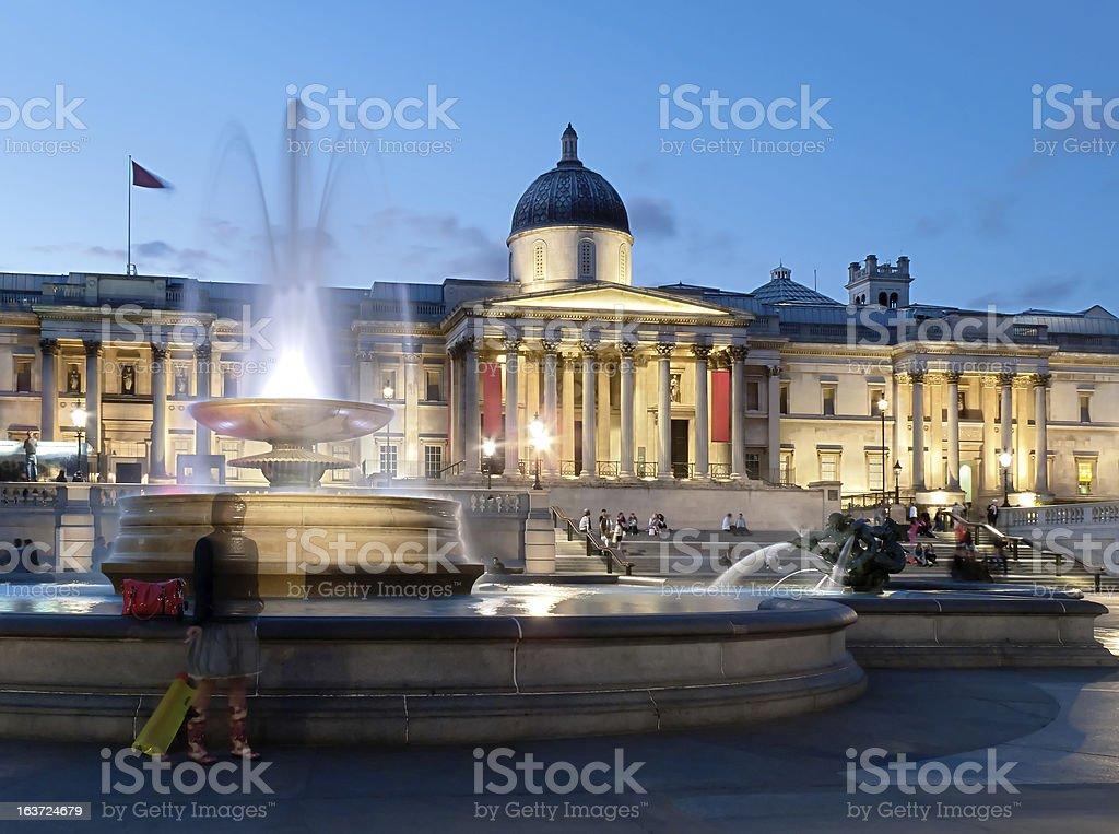 National Gallery on Trafalgar Square in London royalty-free stock photo