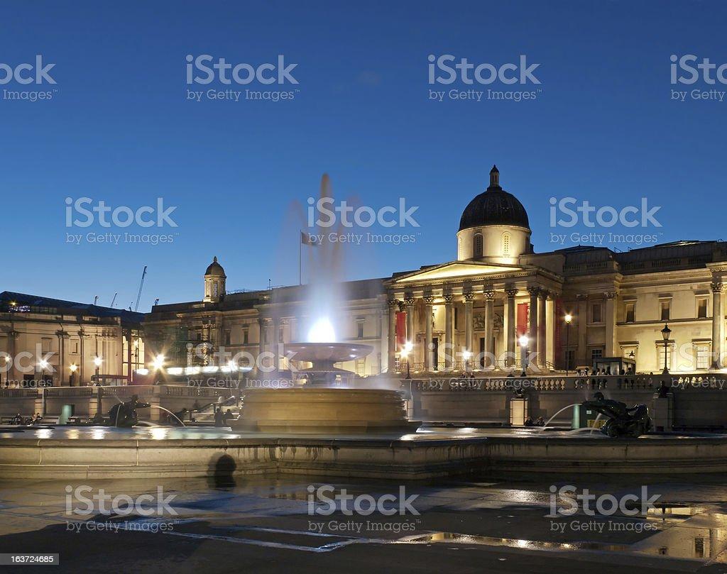 National Gallery on Trafalgar Square in London stock photo