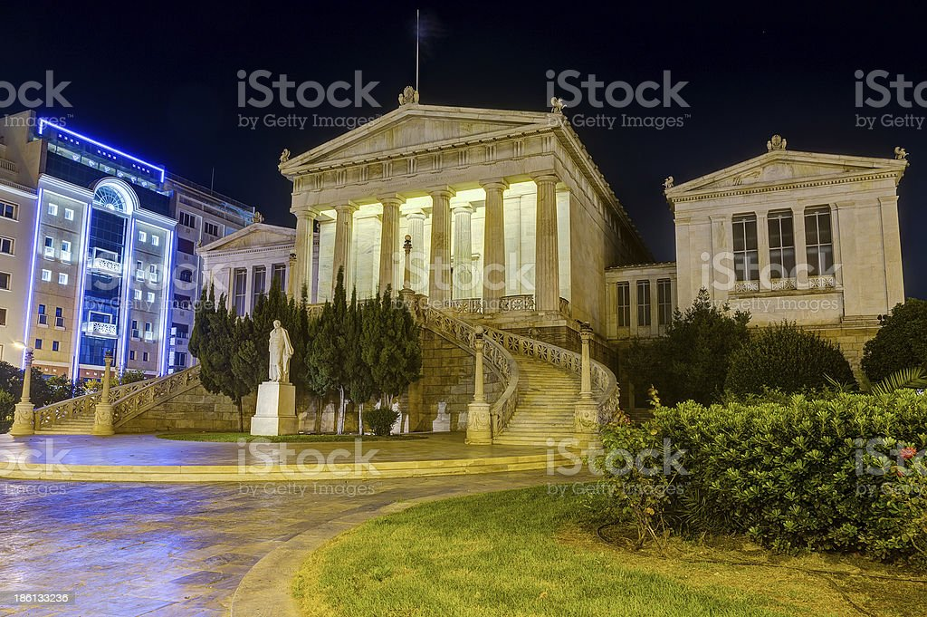 National Library of Greece at night, Athens stock photo