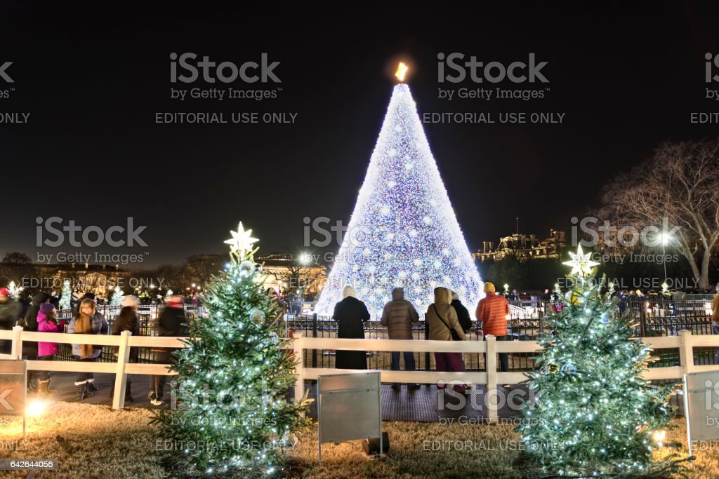 National Mall Christmas tree with visitors during sunset illuminated stock photo