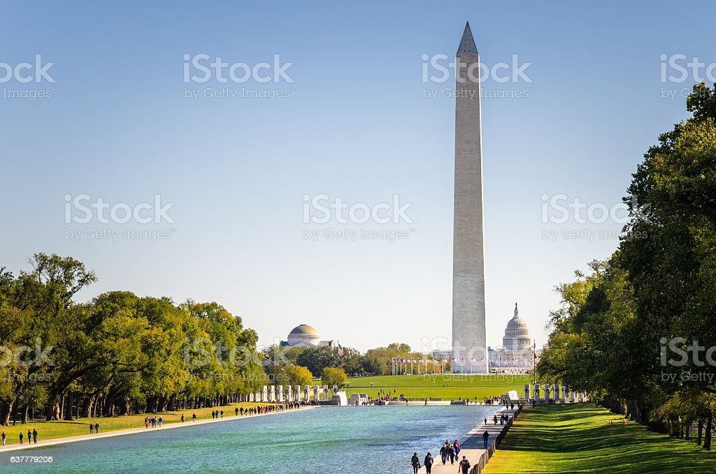 National Mall in Washington DC on a Clear Autumn Day stock photo