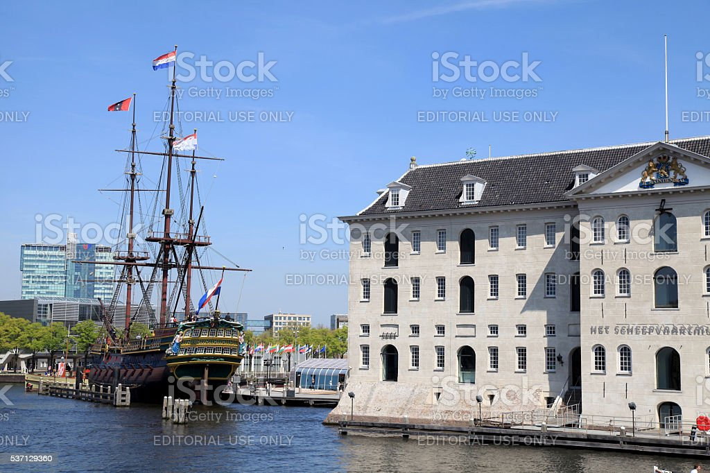 National Maritime Museum and Dutch medieval ship, Amsterdam stock photo