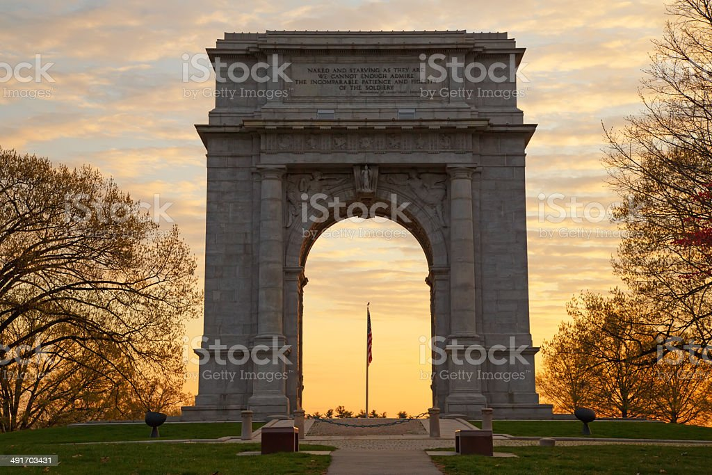 National Memorial Arch at Sunrise stock photo