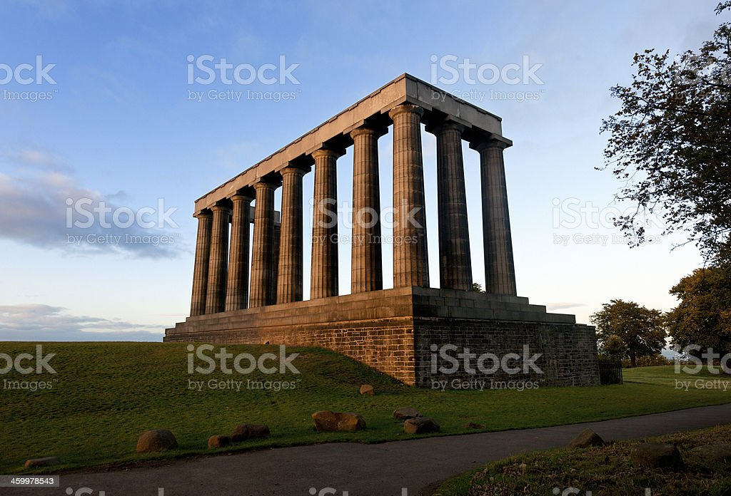 National Monument of Scotland in Edinburgh stock photo