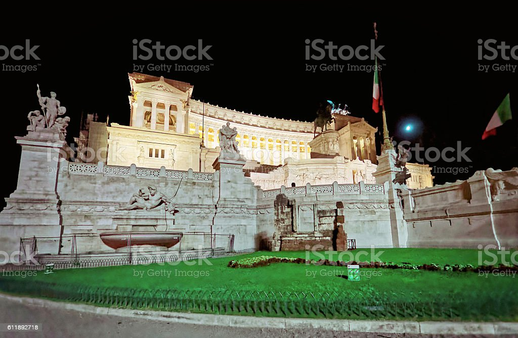 National Monument to Victor Emmanuel in Rome of Italy stock photo