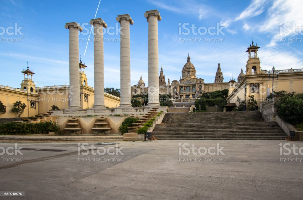 National Palace of Barcelona on mountain Montjuic stock photo