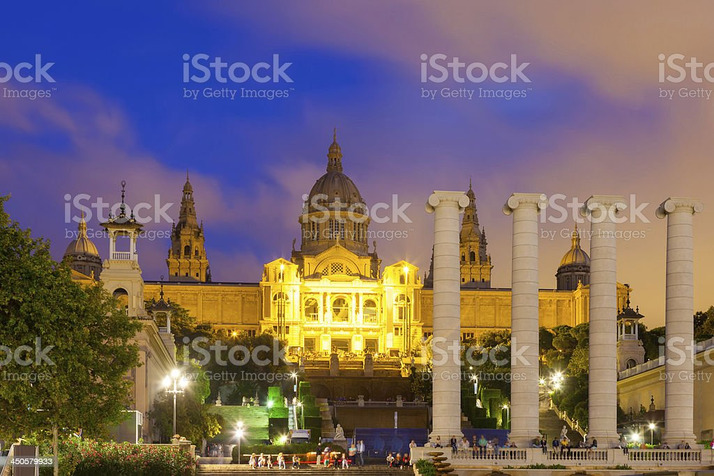 National Palace of Montjuic in evening stock photo
