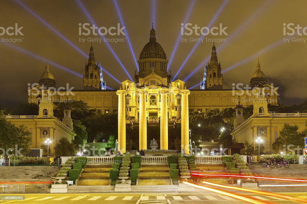 National Palace of Montjuic in night stock photo
