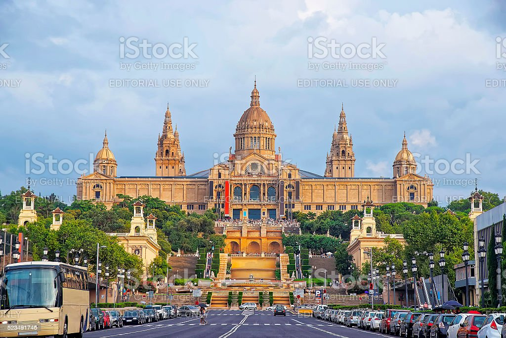 National Palace on Montjuic hill in Barcelona in Spain stock photo