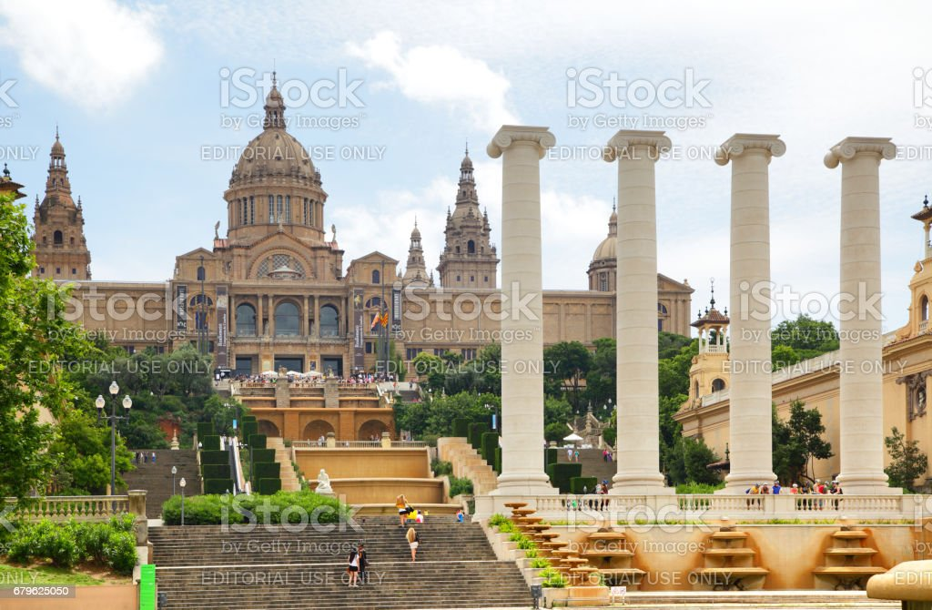 National Palace on Montjuic hill stock photo
