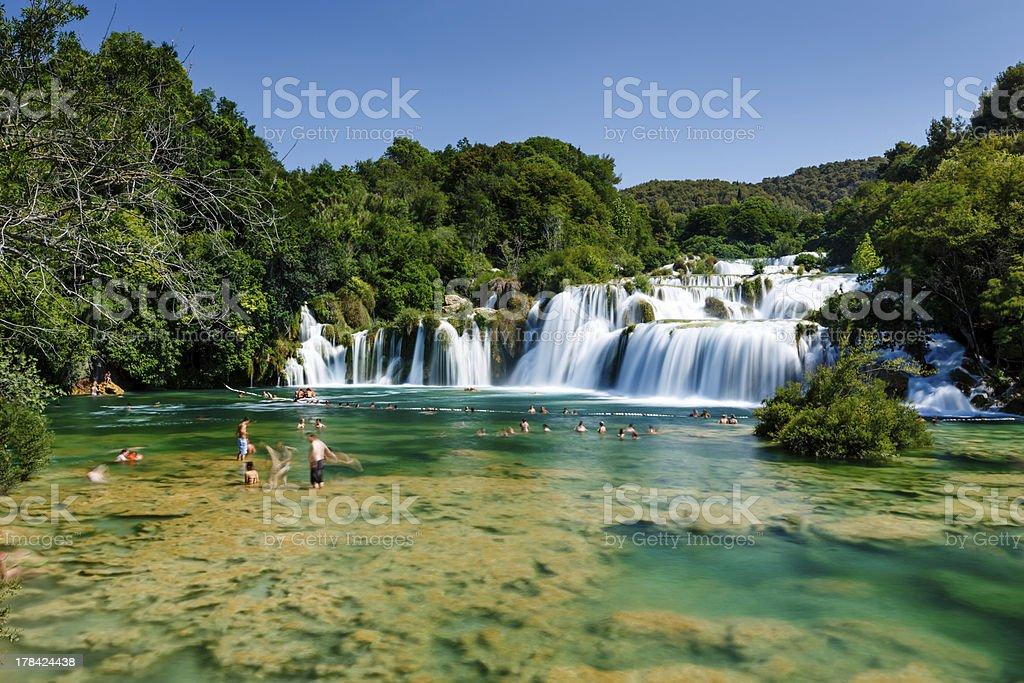 National Park Krka and Cascade of Waterfalls stock photo