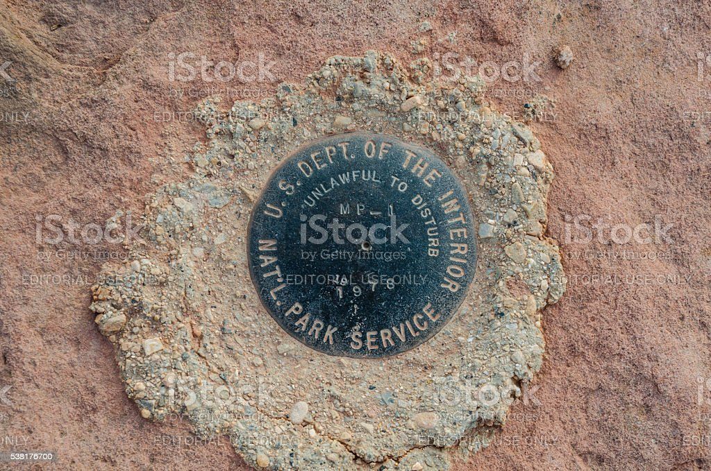 National Park Service Marker in Islands in the Sky stock photo
