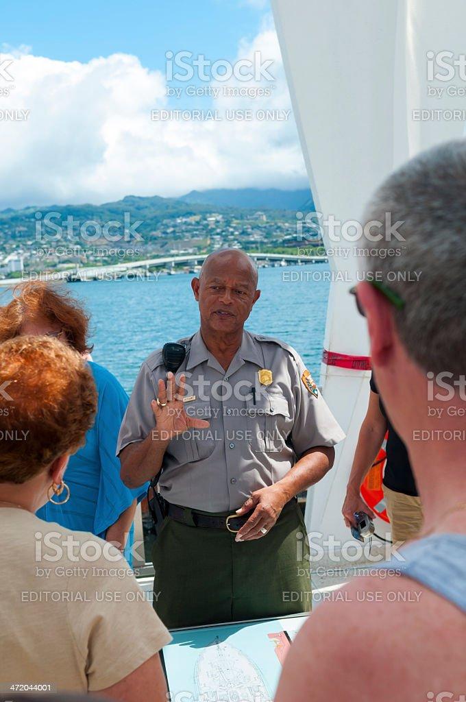 National Park Service ranger at Pearl Harbor stock photo