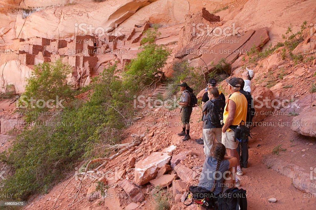 National Park Service tour Batatakin Ruins Navajo National Monument Arizona stock photo