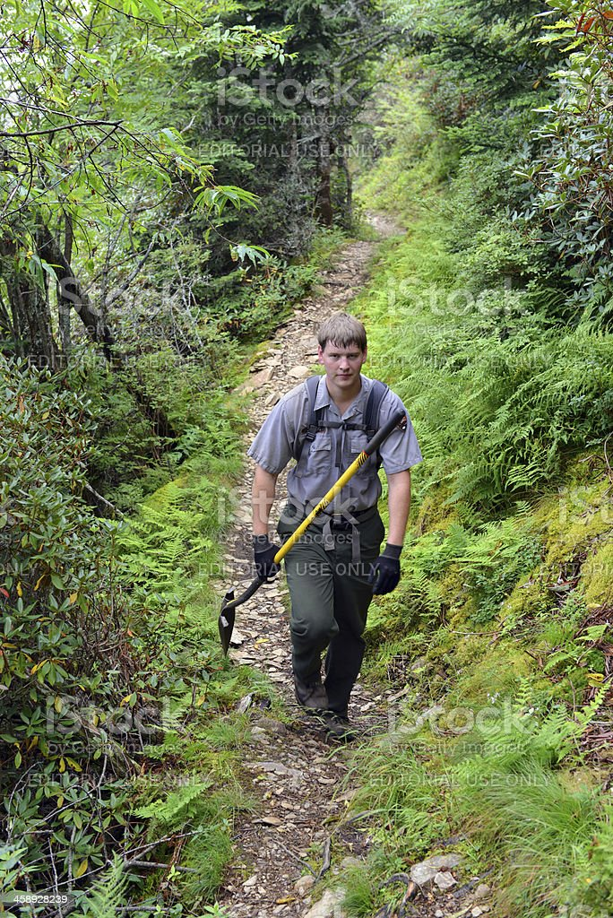 National Park trail crew in Great Smoky Mountains National Park stock photo