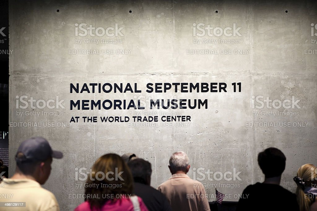National September 11 Memorial Museum Sign at World Trade Center stock photo
