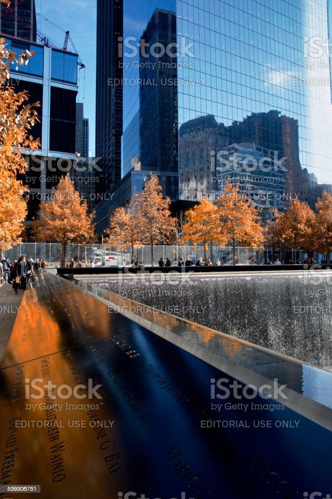 National September 11th Memorial, Autumn Season Colors, New York City stock photo
