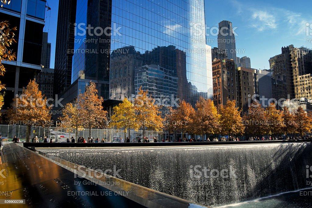 National September 11th Memorial,Fall Season Colors, New York City stock photo