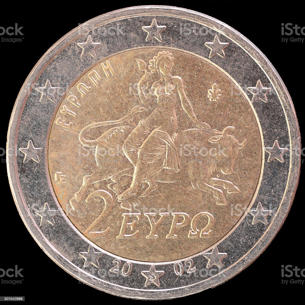 National side of Greece two euro coin on black background stock photo