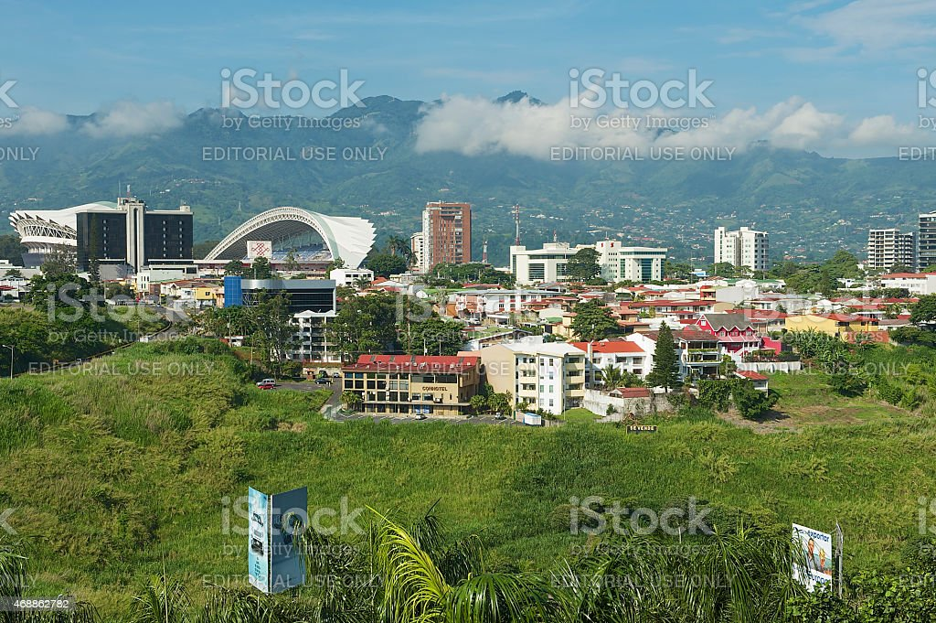 National Stadium and buildings in San Jose, Costa Rica. stock photo