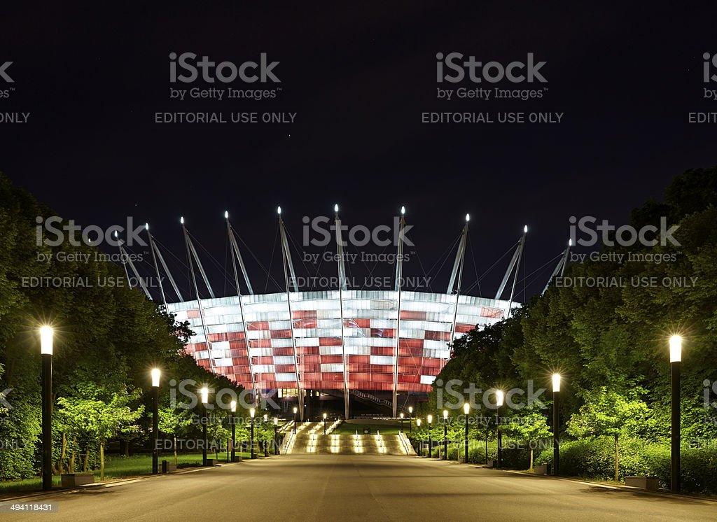 National Stadium in Warsaw at night, Poland stock photo