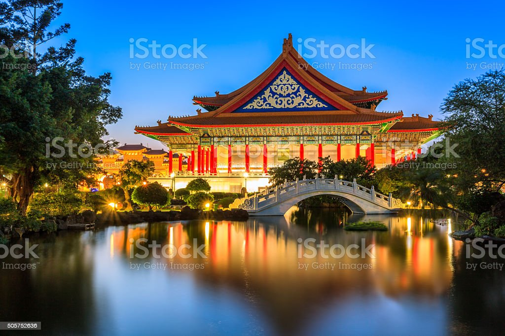 National Theater and Guanghua Ponds, Taipei, Taiwan stock photo
