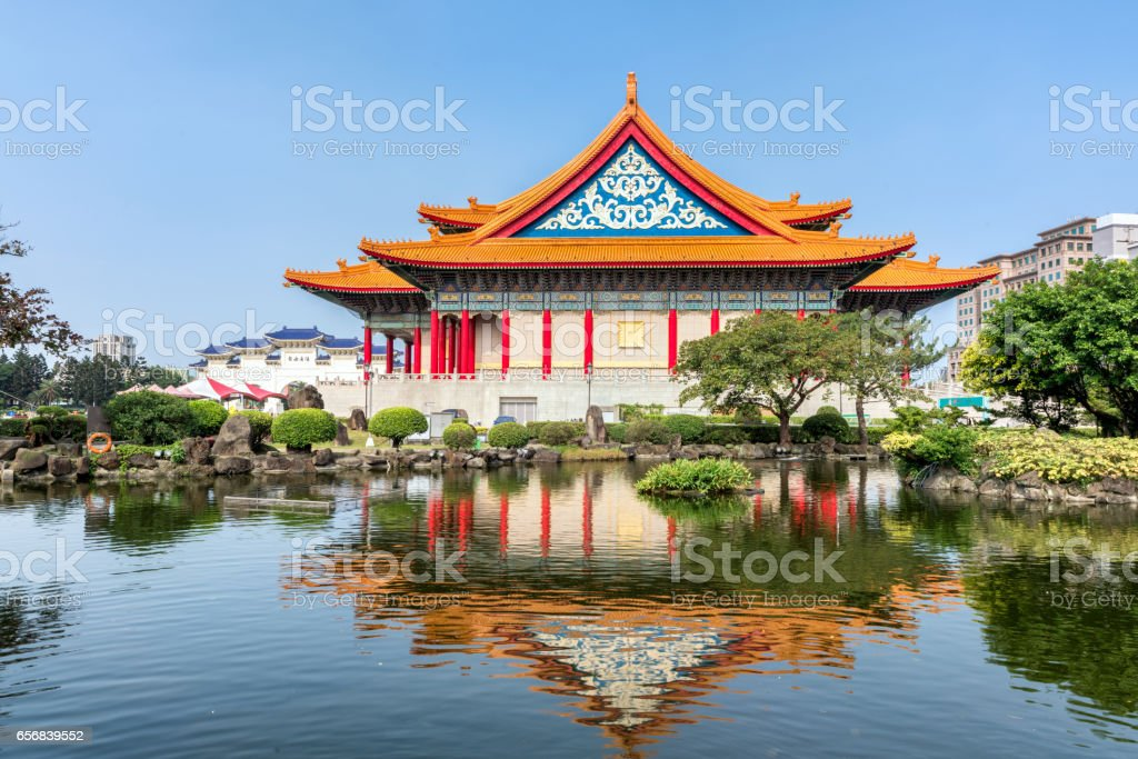National Theater and its Reflection on the Guanghua Pond, Taipei, Taiwan stock photo