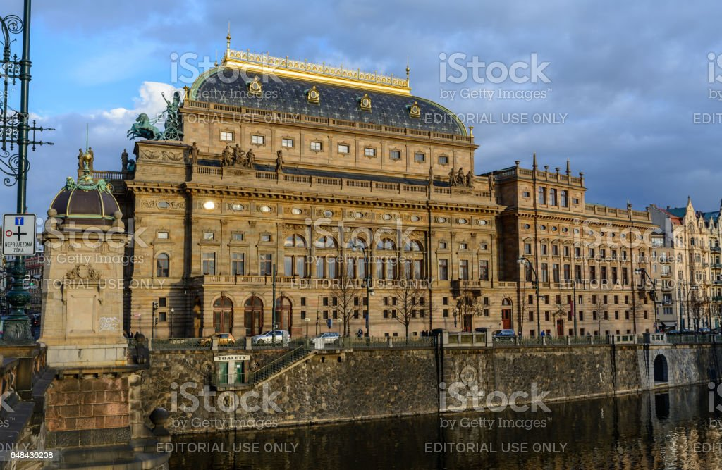 National Theater day in Prague in spring time stock photo