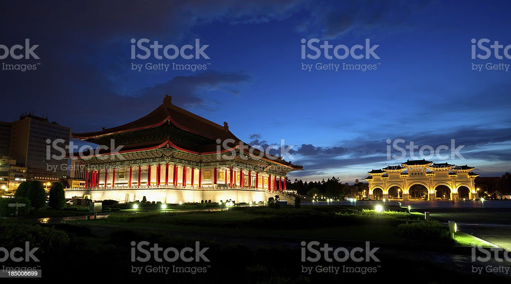 'National Theatre and archways on Liberty Square in Taipei, Taiwa' stock photo