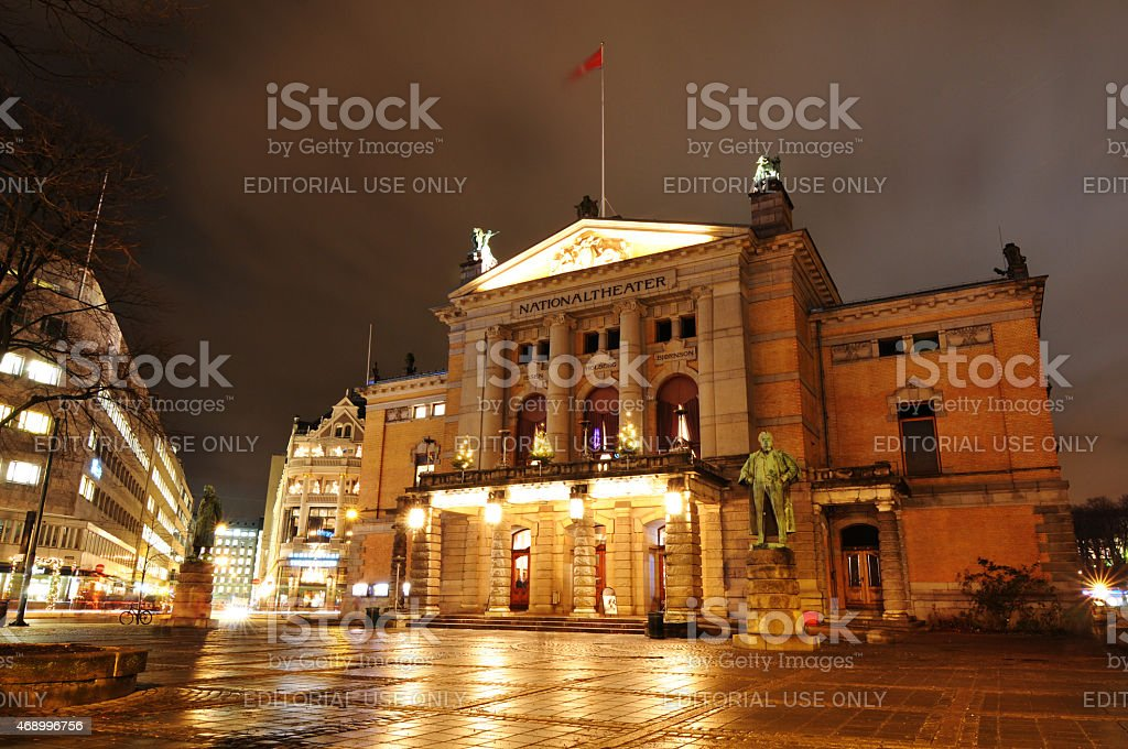 National Theatre in Oslo stock photo