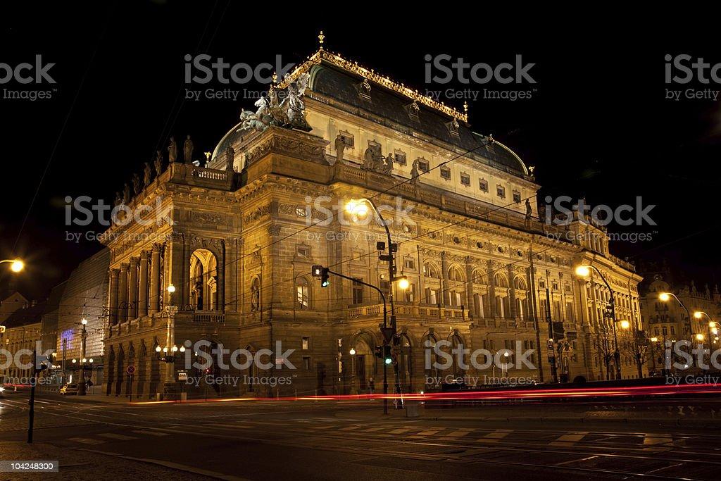 National Theatre, Prague, night shot stock photo