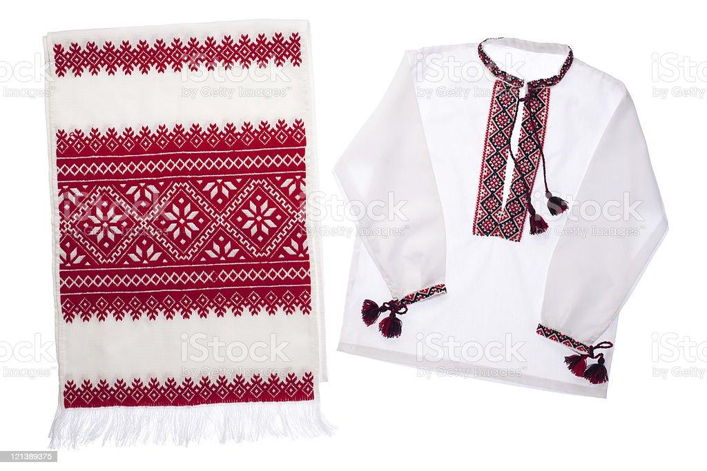 National Ukrainian symbol embroidered handmade towel and shirt stock photo
