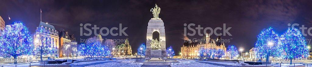 National War Memorial at Christmas Panorama stock photo